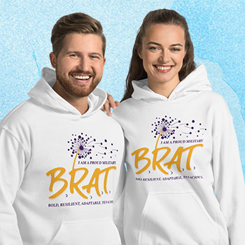 Cute couple in sweatshirts with BRAT logo